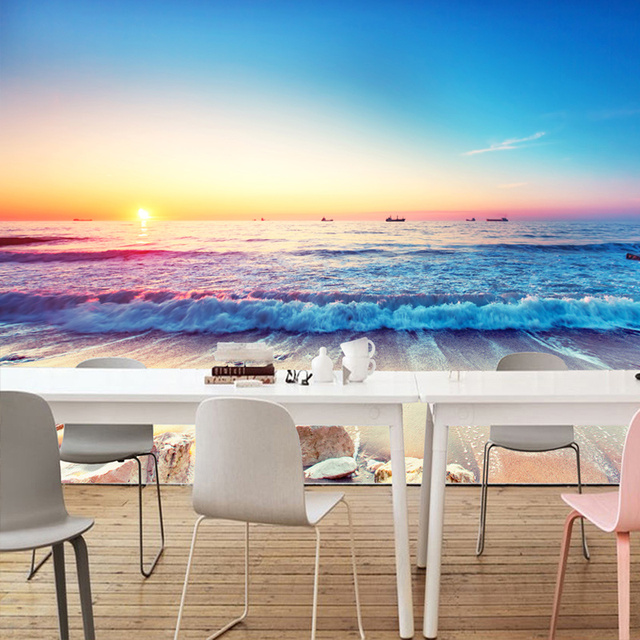 Romantic Color Sunset Beautiful Beach Seaside Nature Landscape Photo Mural Wallpaper Dining Room Modern Fashion Home
