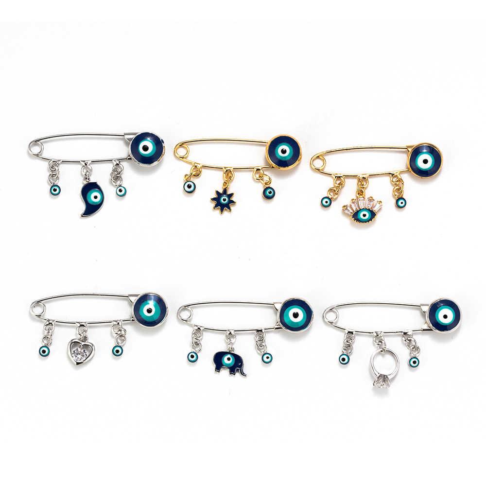 Meibeads Gaya Etnik Biru Mata Jahat Bros & Pin untuk Wanita Pria Fashion Emas Warna Hati Pesona Gajah Hewan Bros perhiasan