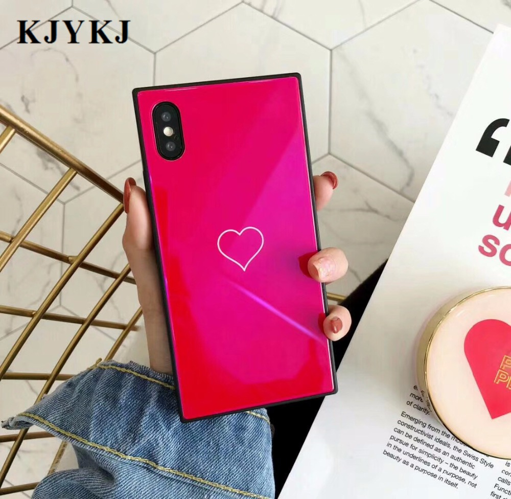 KJYKJ luxury Square tempered glass case for iphoneX 7 6 6s 8 7plus red love heart cover with glossy blue light cases phone bag