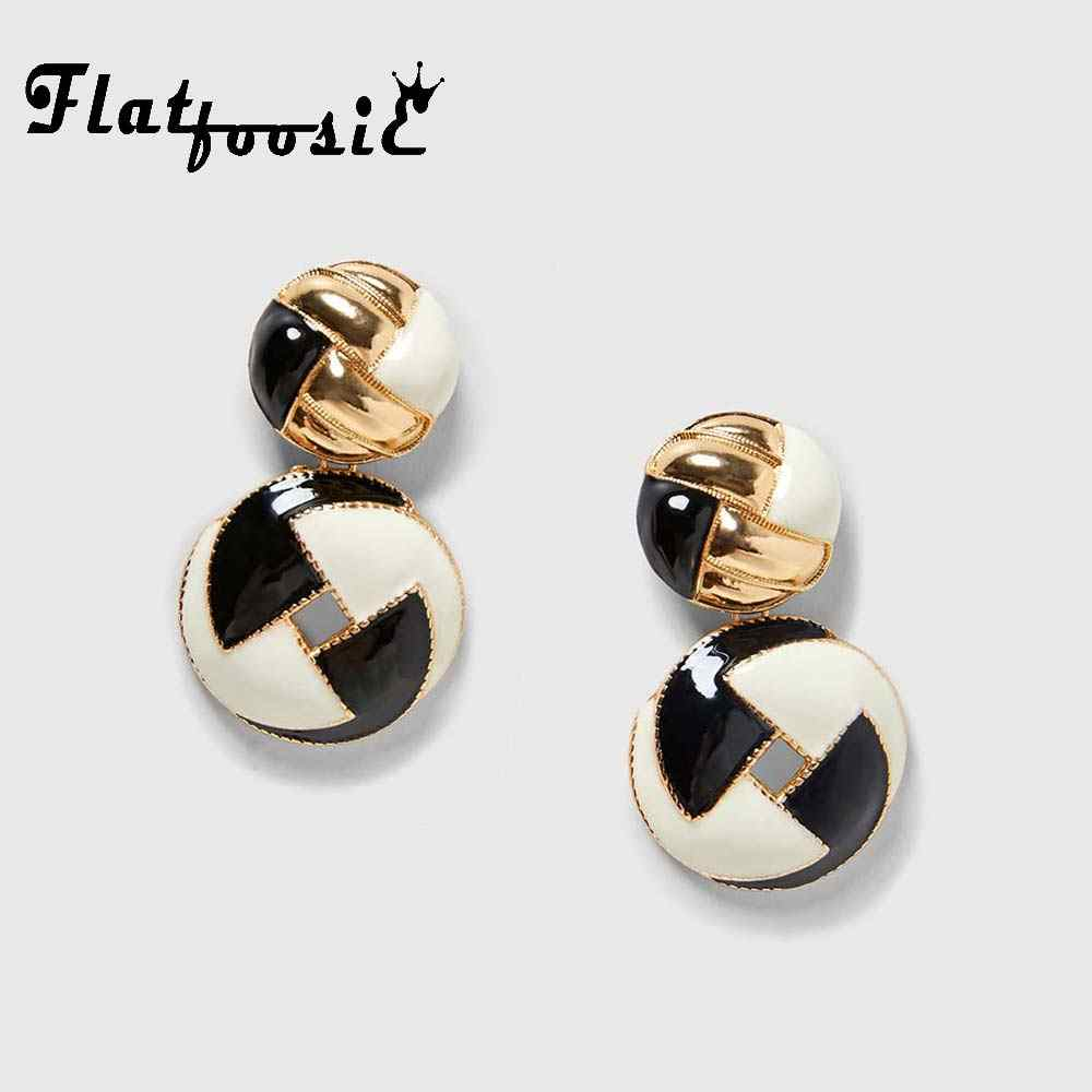 Flatfoosie Double Round Dangle Drop Earrings For Women Girls Trendy Gold Color Metal Square Statement Party Earring Jewelry 2018
