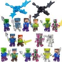 Mine World Shadow Dragon Crystal Zombie Steve Pigman Alex Skeleton Minecrafted Building Block My Craft Brick