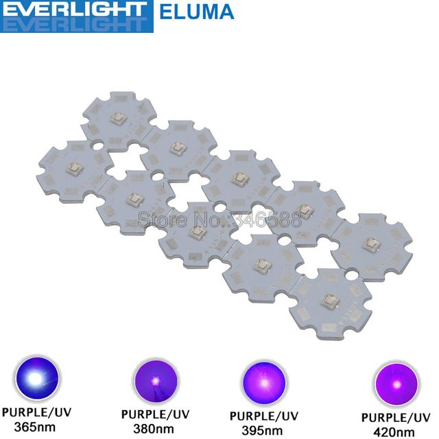 10pcs 3W 365nm 380nm 395nm 420nm UV Ultraviolet 3535 Everlight Eluma High Power LED Light Emitter Diode on 8/12/14/16/20mm PCB