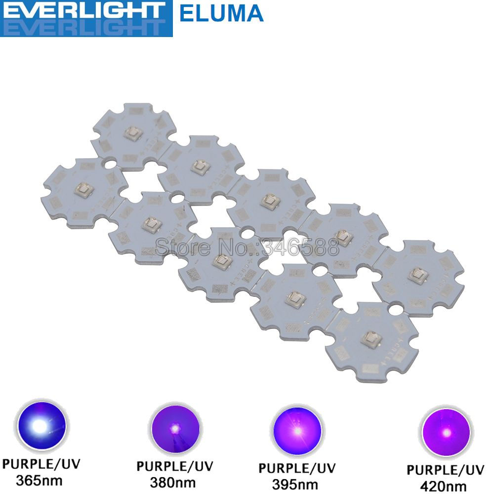 10pcs <font><b>3W</b></font> 365nm 380nm 395nm 420nm <font><b>UV</b></font> Ultraviolet 3535 Everlight Eluma High Power <font><b>LED</b></font> Light Emitter Diode on 8/12/14/16/20mm PCB image