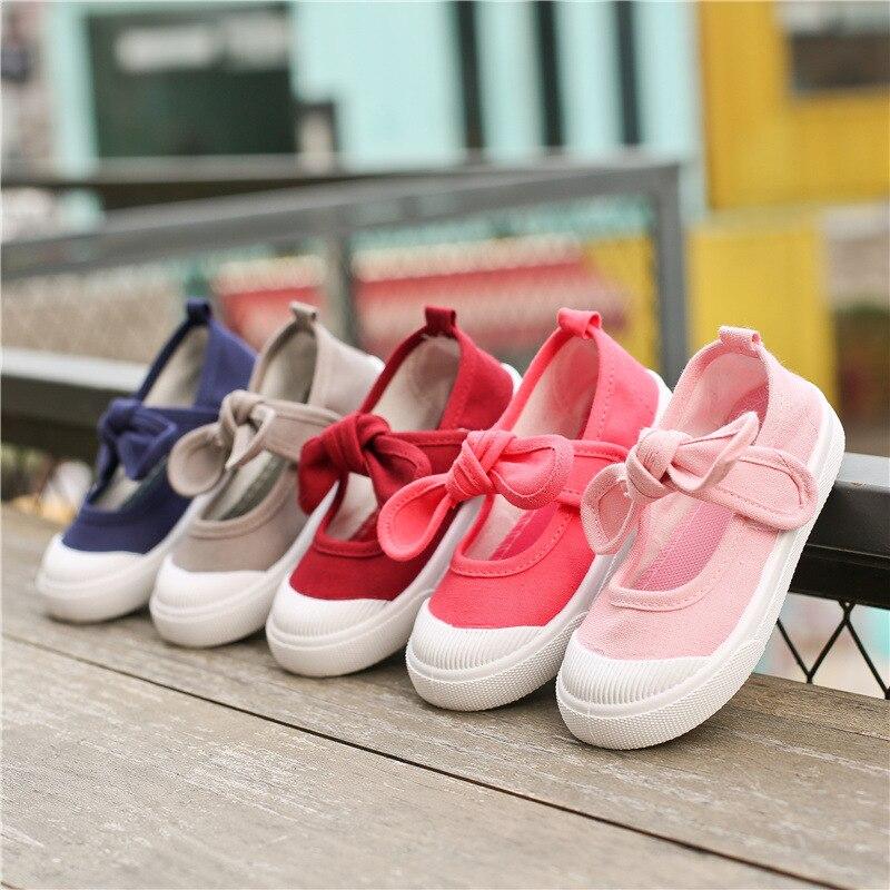 J Ghee nueva zapatos de los niños zapatos de lona de las muchachas del Bowknot cómodo niños zapatos Casual zapatillas niñas princesa zapatos