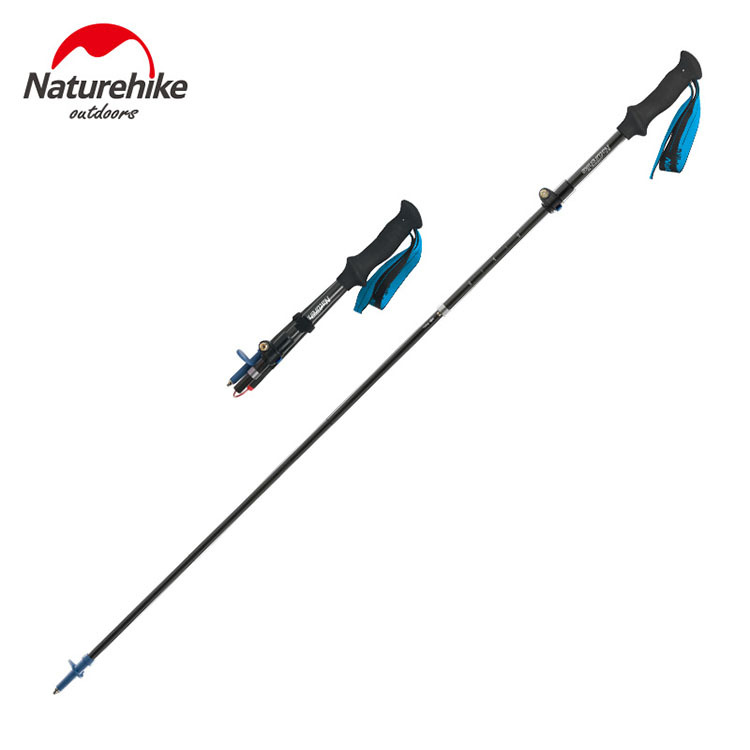 Naturehike NH18D010-Z Adjustable Folding Ultralight Carbon Fiber Quick Lock Trekking Poles Hiking Pole Walking Running Stick