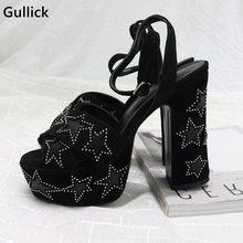 Yüksek Kaliteli Perçin Süslenmiş Beş köşeli Yıldız Çocuk Süet Siyah Sandalet Kadın 4.5 CM Platformu Rahat Tıknaz Topuk ayakkabı
