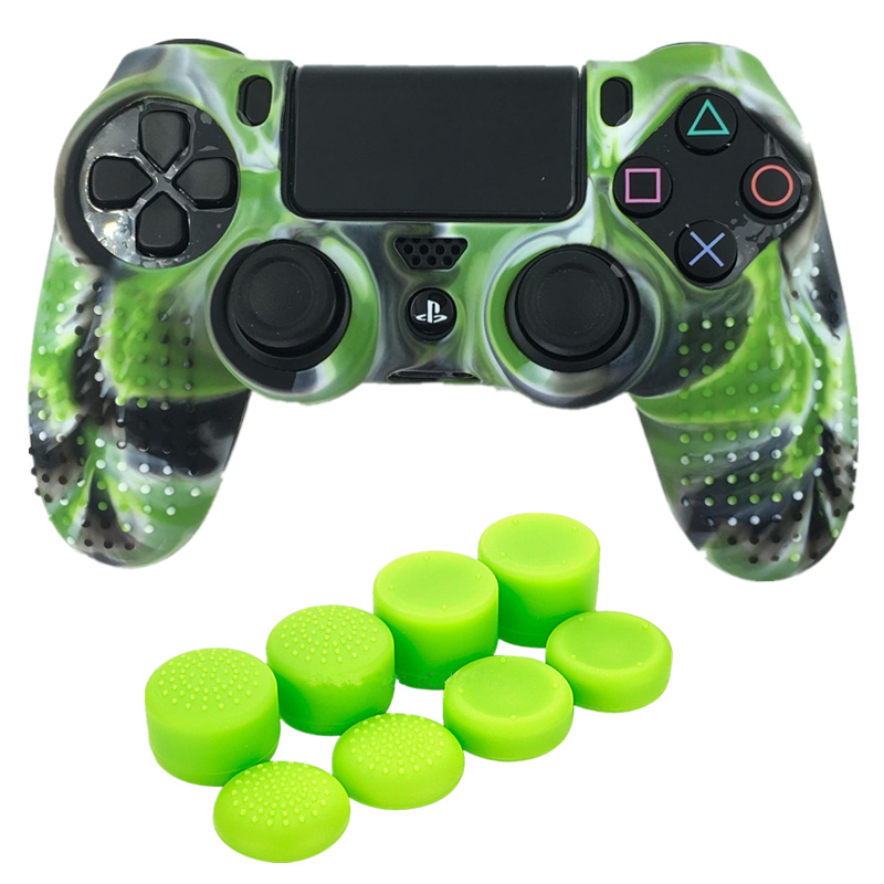 Anti-Slip Camo Soft Silicone Protective Grip Case Cover Joystick Case Skin and 8 Thumbstick caps For Playstation 4 PS4 PRO Slim