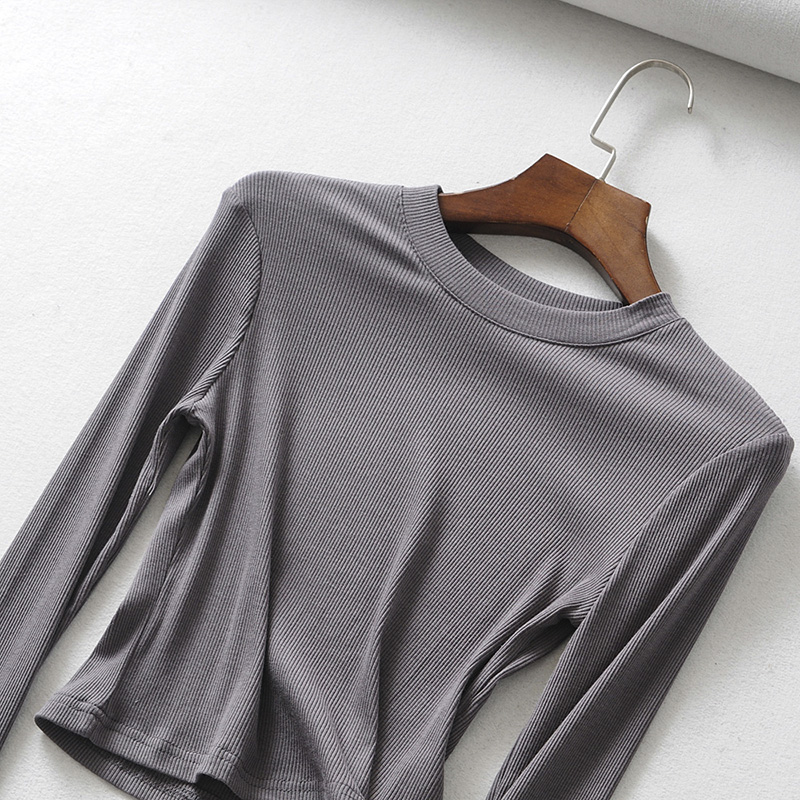 HTB173dDbELrK1Rjy1zbq6AenFXaT - BRADELY MICHELLE Summer sexy women o-neck long-sleeve T-shirt slim elastic cotton crop tops