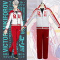 Yuri!!! on Ice Victor Nikiforov Cosplay Costumes Sport Suit  School Uniform Training Jacket Pants Red&White
