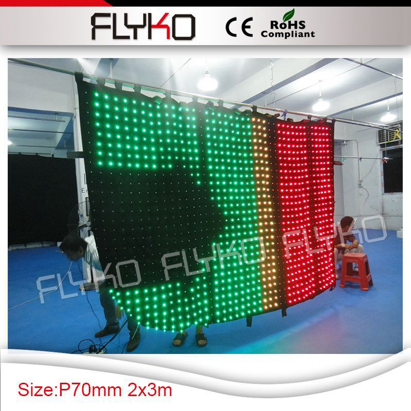 spot lights led P70mm xxx photoes flexible led curtain display led video drop curtain 2m*3m