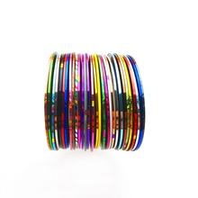 цена на 30 Rolls Nail Stickers Striping Tape Line 30 Colors DIY Beauty Line Nail Art Tips Sticker Transparent Line Rolls Container LBA
