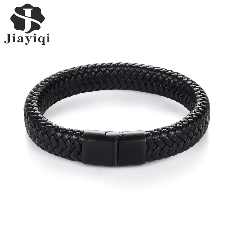 Jiayiqi 2017 Men Jewelry Punk Black Braided Geunine Leather Bracelet Stainless Steel Magnetic Buckle Fashion Bangles 22/20.5cm