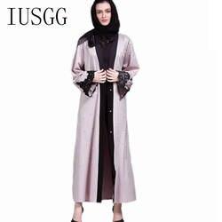 Мода арабского мусульманского Абаи платье Исламская Костюмы для Для женщин лоскутное манжеты L Дубай Кафтан Абаи турецкий мусульманский