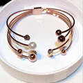 Multi-layer Gold plated cuff bracelets for women Crystal Simulated Ball Open Bangles Bjoux female gift