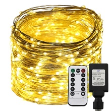 LED Copper Wire String Lights Remote Timer 300/500/Leds Fairy LED Garland Decorative Christmas Lights 165ft 50m 500 leds 8 colors copper wire led string lights starry lights christmas fairy lights 12v power adapter remote control