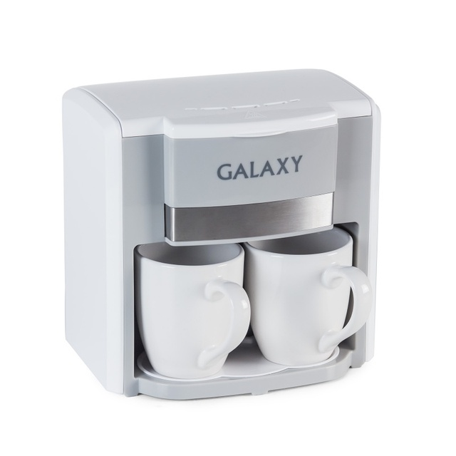 Кофеварка Galaxy GL 0708 БЕЛАЯ (Объем 0.3 л, мощность 750 Вт, съемный фильтр, 2 керамические чашки и мерная ложка в комплекте)
