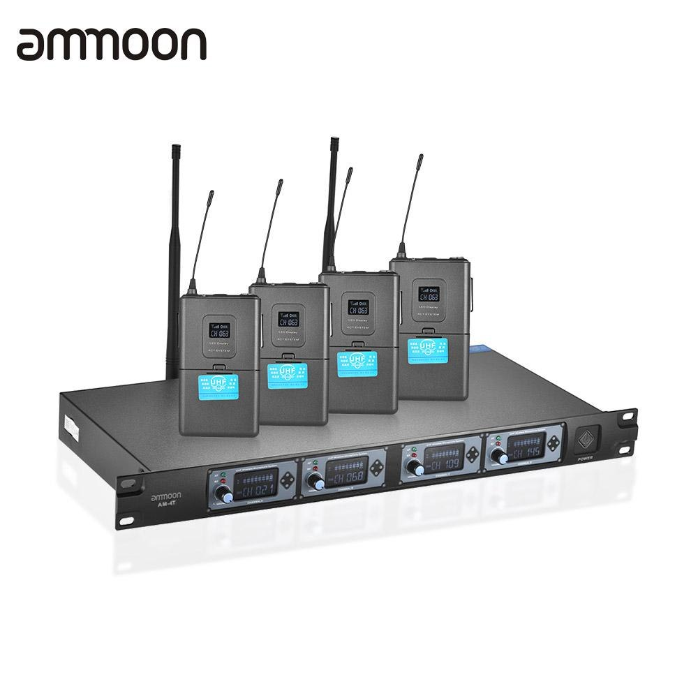 ammoon 4T Professional 4 Channel UHF Wireless Headset Microphone System 4 Mics 1 Wireless Receiver