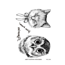 Owl Tattoo Disposable 3d Waterproof Body Art Arm Hand Cat Temporary Tatoo Stickers Paste Pattern 10.5x6cm