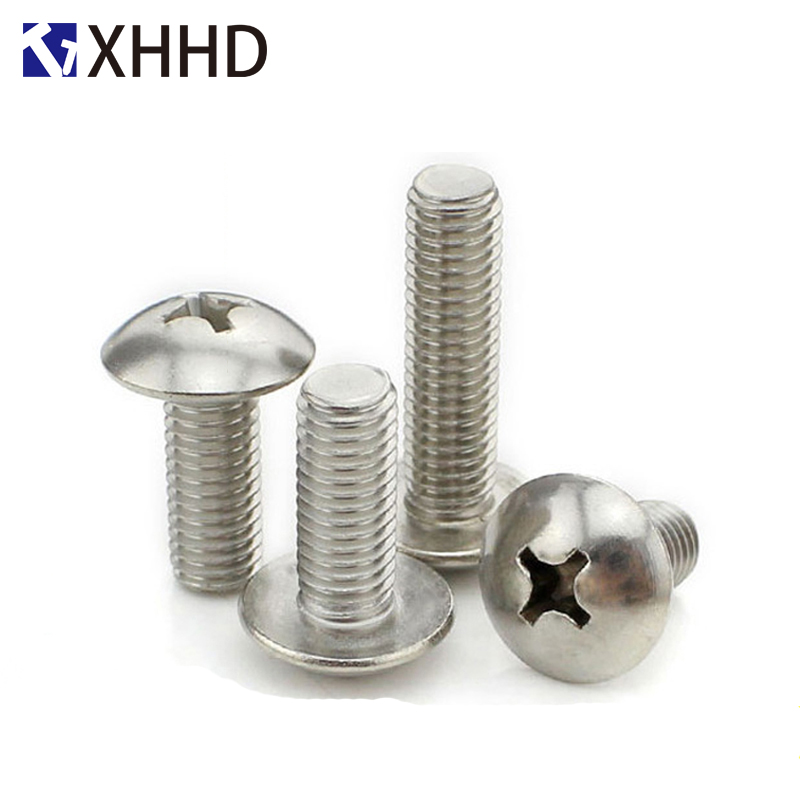 M2 M2 5 M3 M4 Phillips Cross Recessed Large Truss Head Machine Screw Metric Thread Mushroom Head Bolt 304 Stainless Steel in Screws from Home Improvement