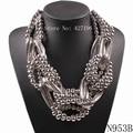 2017 nuevo diseño de moda marca declaración de aleación collar de cadena del grano chunky collar pendiente grande para las mujeres joyería al por mayor