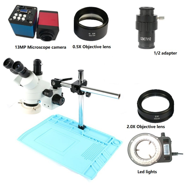 HDMI VGA 3 5X 90X Continuous Zoom Trinocular Stereo Microscope 13MP Digital Camera 56 LED ring