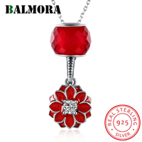 BALMORA 100 Real 925 Sterling Silver Fashion Jewelry Zircon Red Flower Pendant Necklaces For Women Mother