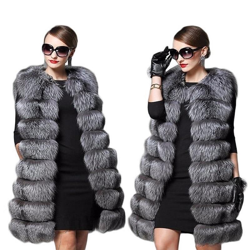 Imitation 2018 De Et Couture Picture Feminino Fourrure Nouvelle Casaco Manteau Section Gilet Renard Mode D'hiver Longue Veste Automne Femme qwBxn4OSE