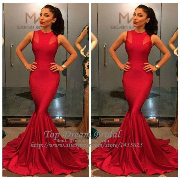 Glamorous Lady Red Prom Dresses Halter Neck Sleeveless Mermaid Long ...