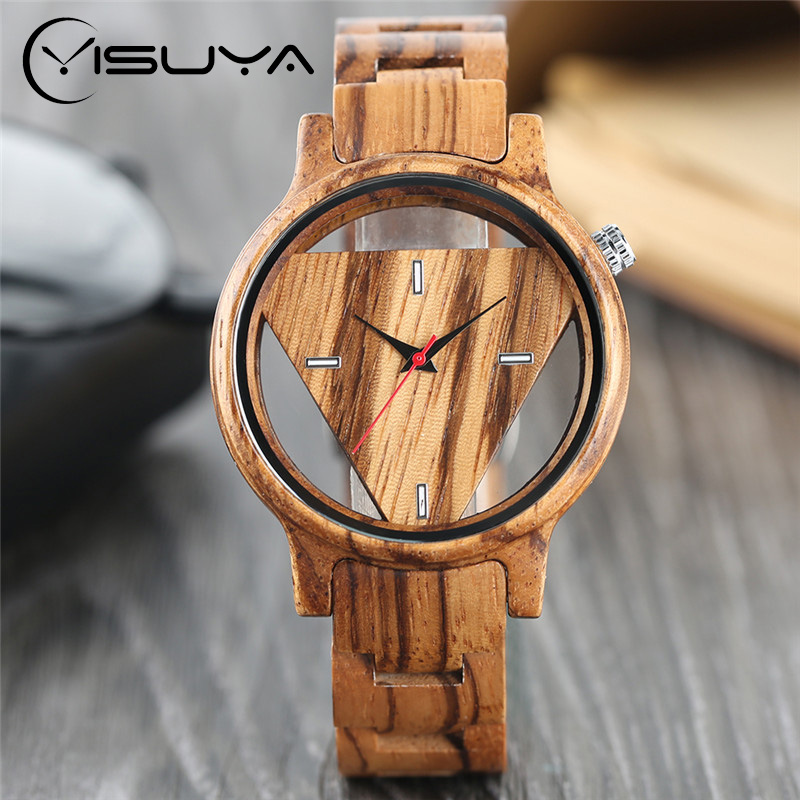 YISUYA Creative Fashion Full Bamboo triangular Quartz Wrist Watch Men Simple Unique Novel Analog Hollow Bangle Nature Wood Clock green face bamboo gift new arrival handmade nature wood bangle simple men hot casual women wrist watch modern novel fold clasp