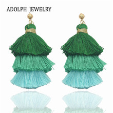 ADOLPH Jewelry for Women Hand Made Trendy Accessories Bohemia Style Earrings Cotton Wire Tassel Pendant Statement Stud Earring