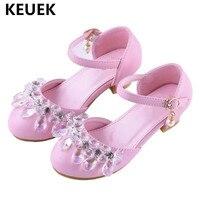 Nuevos zapatos de cuero de baile de diamantes de imitación de princesa de actuación de moda escolar para niñas zapatos de fiesta de tacón alto para niños 041