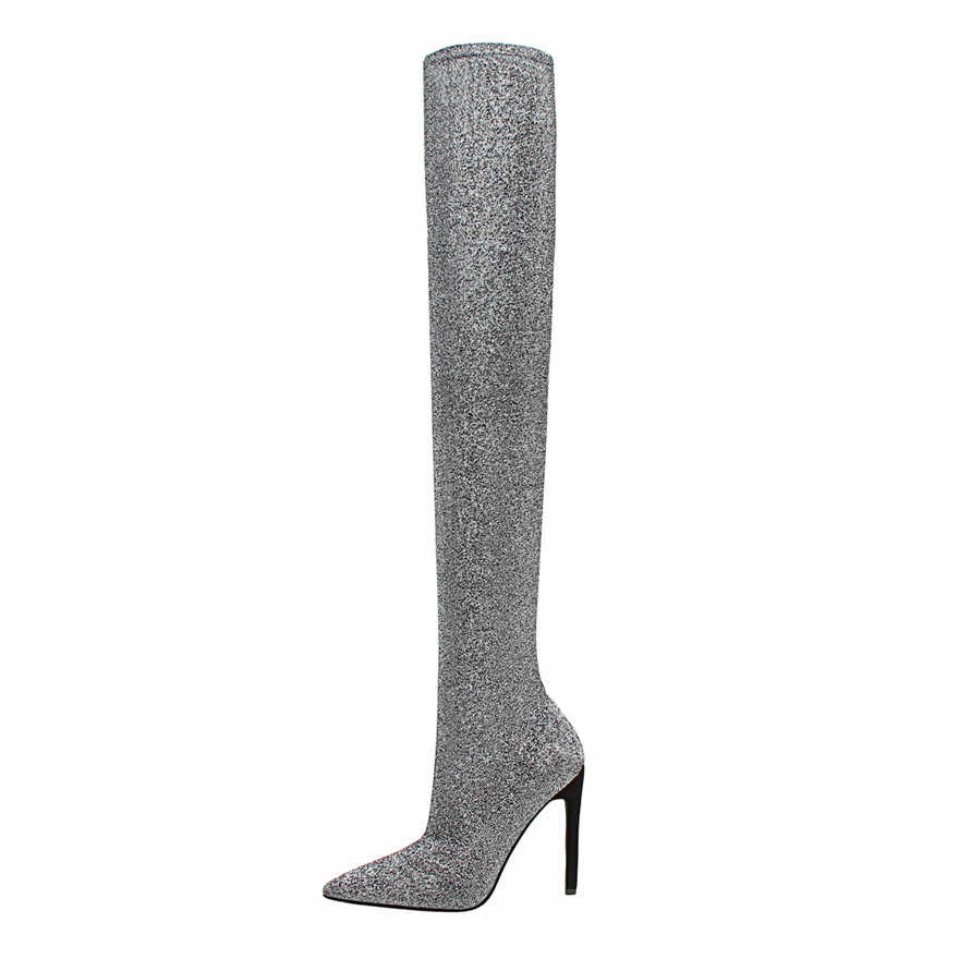 ... 2019 Hot Women Boots Stretch Sequined Cloth Super Thin High Heels Long Boots  Autumn Fashion Pointed ... 0c6aada231ac
