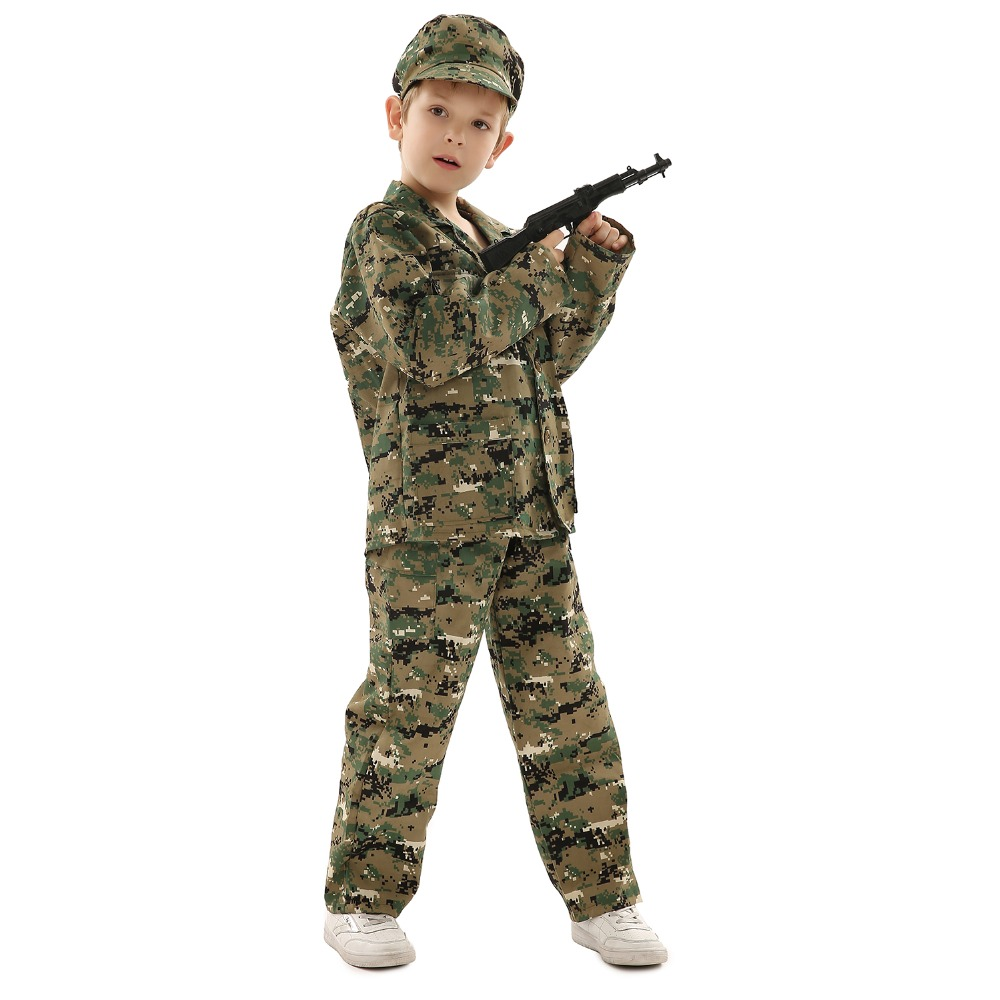 Boys Soldier Costumes Children Cosplay for Kids Dressup Party Army Police Clothing Set for Stage Performance Gift for Kids