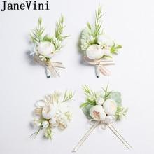 JaneVini 2019 جديد الزهور الاصطناعية العروس العريس Boutonniere الصدار الأبيض المعصم الزهور مجموعة الزفاف كورسج و Boutonnieres