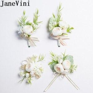Image 1 - JaneVini 2019 جديد الزهور الاصطناعية العروس العريس Boutonniere الصدار الأبيض المعصم الزهور مجموعة الزفاف كورسج و Boutonnieres