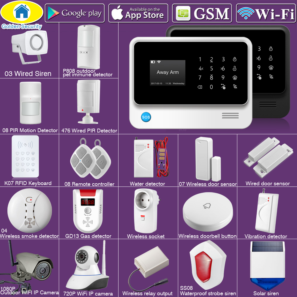 Golden Security G90B Plus SIM GSM Home Burglar Security APP Remote Control WIFI GSM Alarm System Wireless EN RU ES FR TUR Voice-in Alarm System Kits from Security & Protection