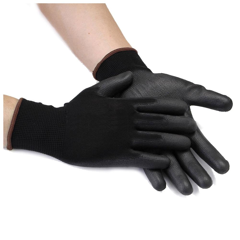 MOOL 12 Pairs Nylon Work Gloves Pu for DIY Garden Mechanic M/L