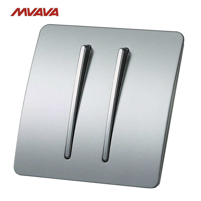 MVAVA 16A 2 Gang 2 Way Light Wall Switch AC100V-250V Light Control Wall Decorative Push Button Luxury PC Panel Free Shipping mvava ceiling fan rotate turn on off dimmer switch speed control wall decorative 500w luxury glod crystal free shipping