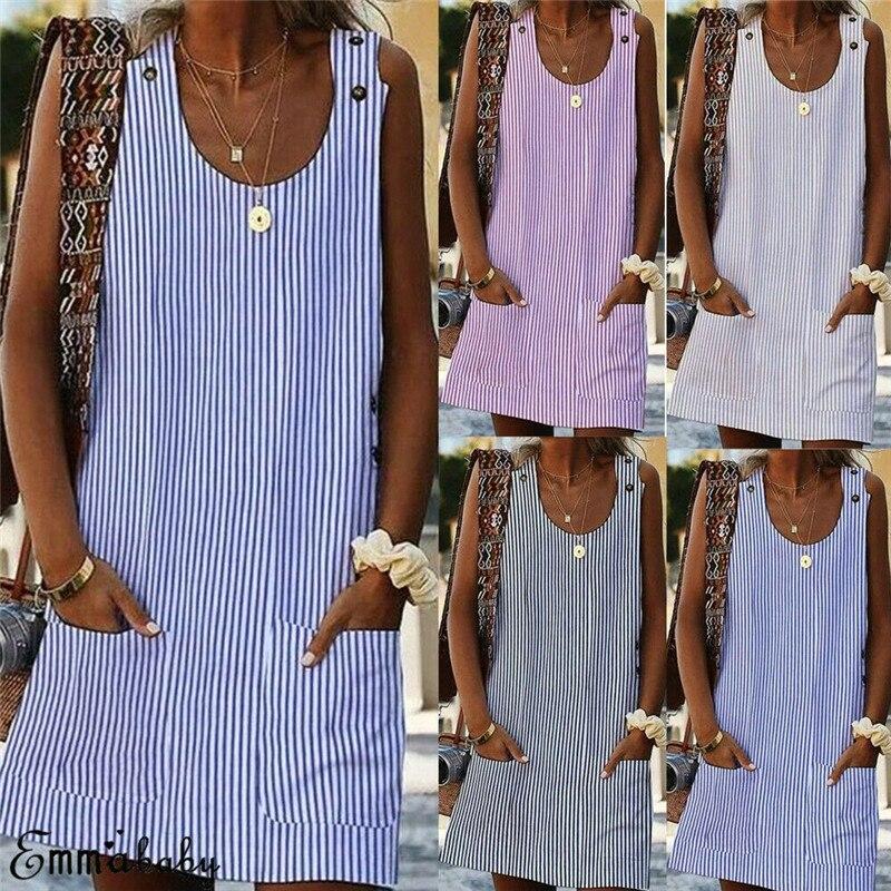 Plus Size Linen Dress Women Crew Neck Striped Casual Shirt Dress With Pockets Daily Button Plaid Ladies Beach Party Dress W3