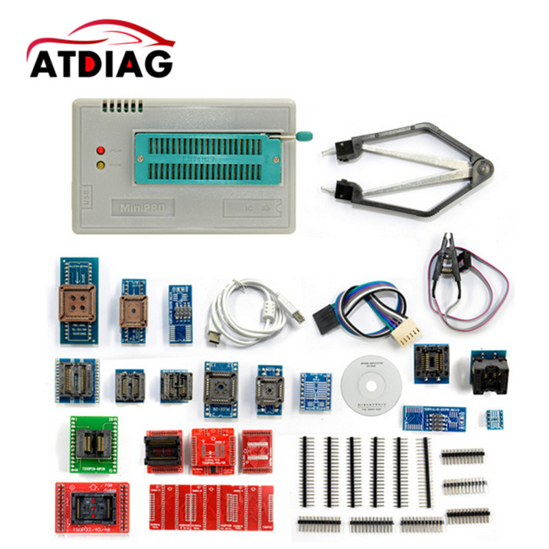 V6.6 Original TL866A Universal minipro programmer+24 adapters+IC clip Clamp TL866 AVR PIC Bios Programmer English manual