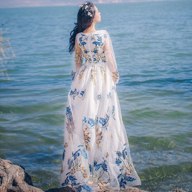 Lolita Mori girs retro embroidery dress womens lace art beach vacation two floors dress  ...
