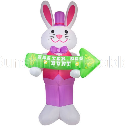 Customized giant 12 Ft Tall Airblown Inflatable Easter Gentleman Bunny with SignCustomized giant 12 Ft Tall Airblown Inflatable Easter Gentleman Bunny with Sign