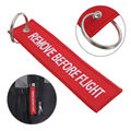 2 Pcs Cool Remove Before Flight Embroidered Canvas Special Luggage Tag Label Car Key Chain Keyring Gift