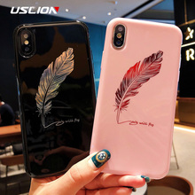 USLION Silicone Feather Case For iPhone 7 8 Plus XS Max XR Xs Letter Phone Cases For iPhone X 8 7 6 6S Plus Soft TPU Back Cover uslion glitter phone case for iphone 7 8 plus dream shell pattern cases for iphone xr xs max 7 6 6s plus soft tpu silicone cover