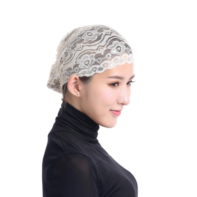 Muslim Hijab Fashion Flower Style Soft Breathable Stretchable Lace Caps Islamic Hats Full Head Women Hijabs 12 Colors