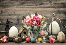 Laeacco Flowers Easter Eggs Wooden Planks Scene Photo Backgrounds Seamless Photography Backdrops Props For Photo Studio(China)