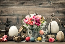 Laeacco Flowers Easter Eggs Wooden Planks Scene Photography Backgrounds Seamless Backdrops Props For Photo Studio