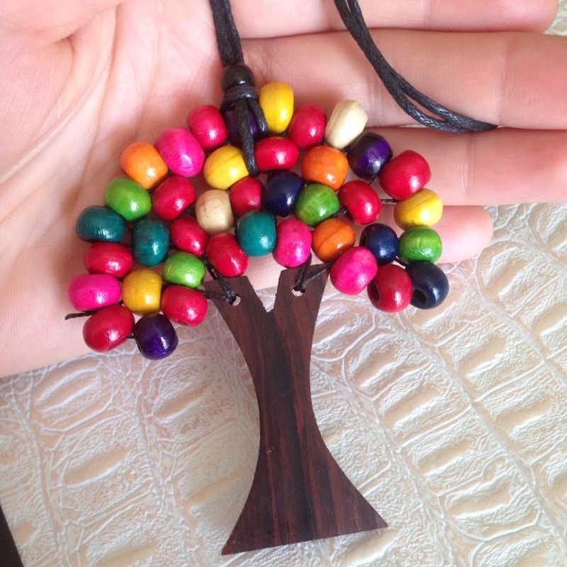 Balibali 2018 fashion long Necklace Choker Handmade Rainbow Statement Necklace Wooden Beads Tree of Life Pendant Necklace Women