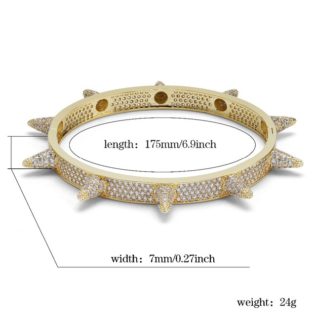 TOPGRILLZ Spikes Rivet Stud Mens Charm Bracelets Bangle Iced Out Gold Silver Color Bracelets Hip Hop/Punk Gothic Bling Jewelry