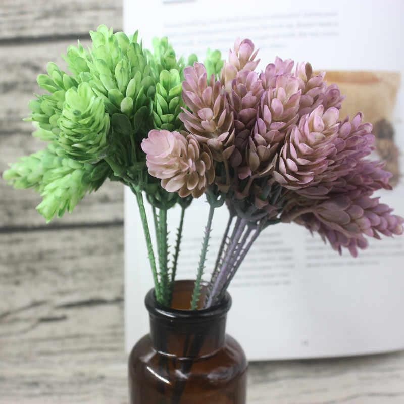 5 La cabeza/1 piezas trabecular de simulación de la planta verde artificial barato de plástico de la flor casa decoración de la Mesa de boda diy de caramelo